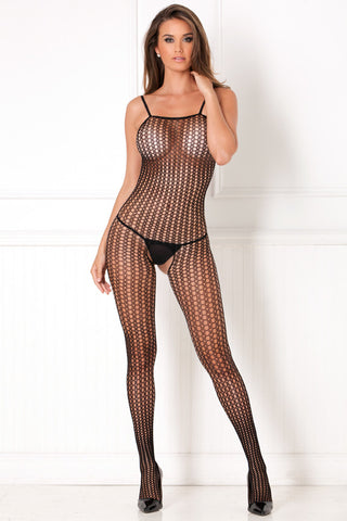 7004<BR>Quarter Crochet Net Crotchless Bodystocking