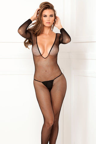 Rene Rofe Sexy Lingerie 7006-BLK Deep V Long Sleeve Crotchless Bodystocking-Front view