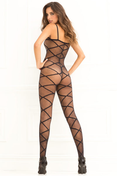René Rofé Sexy Lingerie 7010-BLK Love Is Destiny Sheer Criss Cross Bodystocking-Back view