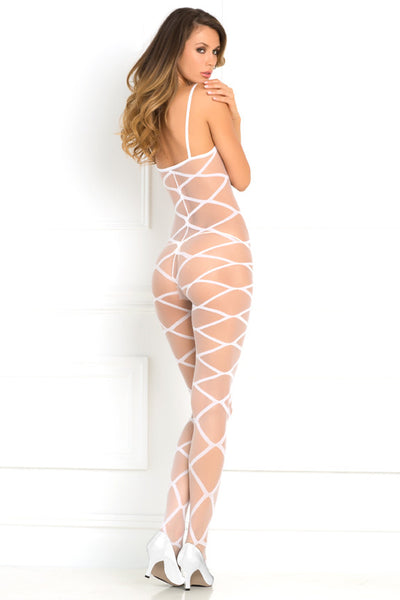 René Rofé Sexy Lingerie 7010-WHT Love Is Destiny Sheer Criss Cross Bodystocking-Back view