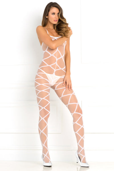 René Rofé Sexy Lingerie 7010-WHT Love Is Destiny Sheer Criss Cross Bodystocking-Front view