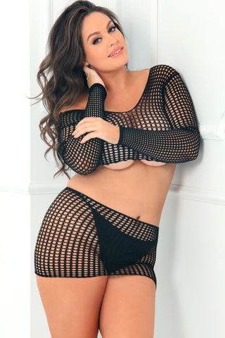 7013X-BLK - 2pc Night Moves Crochet Net Crop Top and Mini Skirt Set - René Rofé Sexy Lingerie - Front View