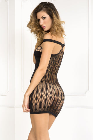 René Rofé Sexy Lingerie 7027-BLK Big Spender Multi-Net Seamless Dress-Back View