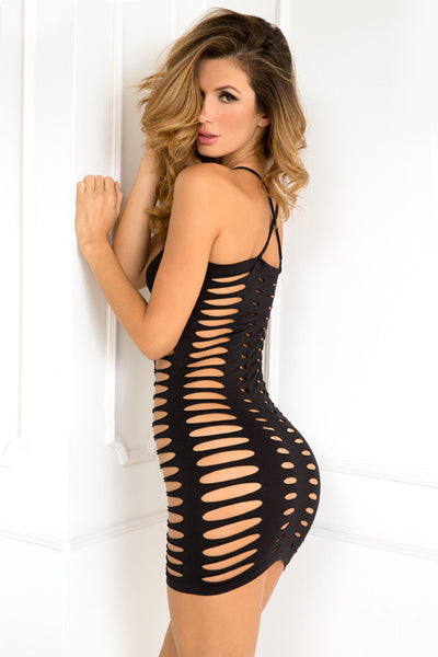 René Rofé Sexy Lingerie 7028-BLK Sexy Side Slash Open Cutouts Seamless Dress-Back View