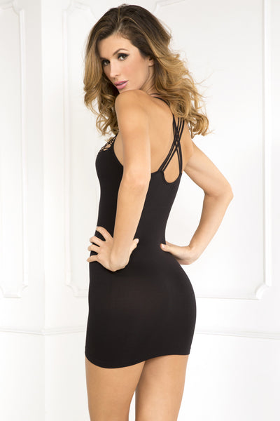 Exotic Plunge Net-Front Seamless Dress
