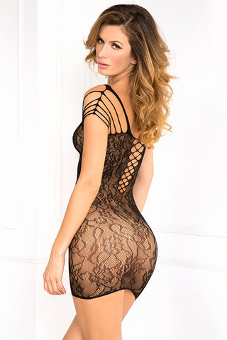 René Rofé Sexy Lingerie 7033-BLK Off The Hook See Through Lace Seamless Dress-Back View
