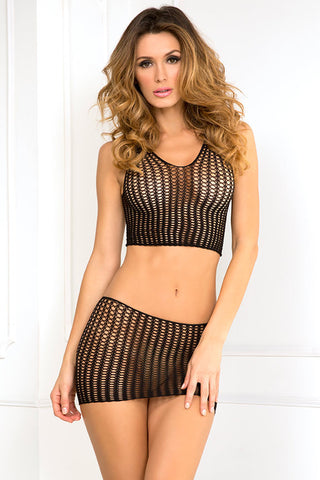 7034<br>Quarter Crochet Net Naughty Mini Skirt Set