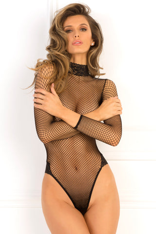 High Demand Lace Neck Fishnet Bodysuit - René Rofé Sexy Lingerie