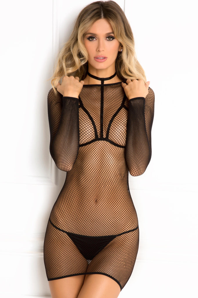 7041-BLk Rene Rofe Sexy Lingerie High Alert 2 Piece Choker Harness Bra and Fishnet Long Sleeve Dress Set