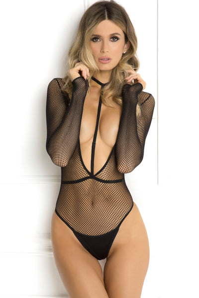 René Rofé Sexy Lingerie 7042-BLK Body Plunge 2 Piece Choker Harness and Long Sleeve Fishnet Bodysuit Set-Front View