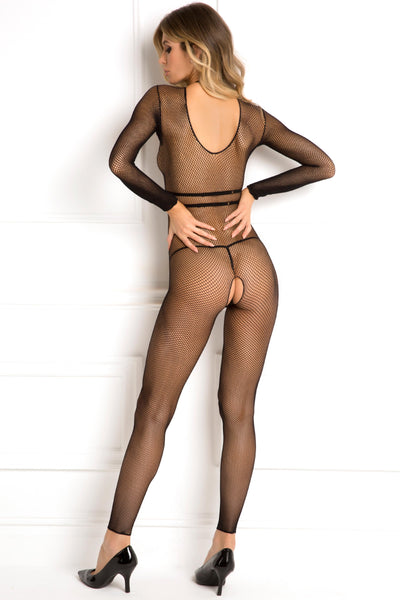 René Rofé Sexy Lingerie 7043-BLK Body Conversation 2 Piece Harness Bra and Footless Crotchless Fishnet Body Stocking Set-Back View