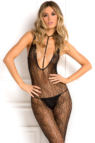 7046-BLK Rene Rofe Sexy Lingerie Holy Plunge Choker Harness Crotchless Lace Body Stocking