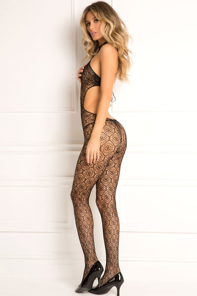 René Rofé Sexy Lingerie 7047-BLK Indiscreet High Neck Crotchless Crochet Tie-Back Body Stocking-BackView