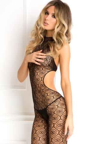 René Rofé Sexy Lingerie 7047-BLK Indiscreet High Neck Crotchless Crochet Tie-Back Body Stocking-Front View