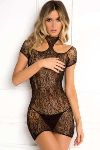 7048-BLK Rene Rofe Sexy Lingerie Cold Shoulder High Neck Lace Body Stocking Dress with Shoulder Cutouts