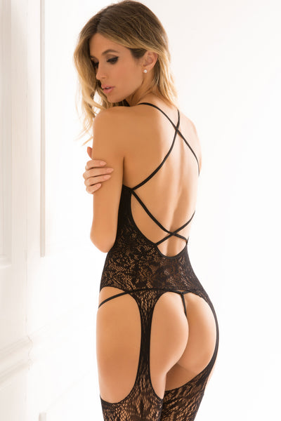 René Rofé Sexy Lingerie 7049-BLK Lace Seduction Deep Plunge Lace Body Stocking with Cut Outs and Strappy Back-Back View