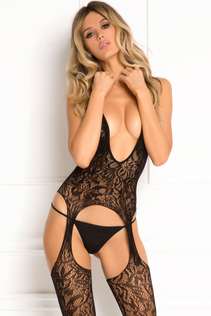 7049-BLK Rene Rofe Sexy Lingerie Lace Seduction Deep Plunge Lace Body Stocking with Cut Outs and Strappy Back