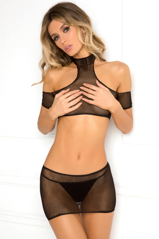 Rene-Rofe-Sexy-Lingerie 7050-BLK Cold-Shoulder-2-Piece-Crochet-Mini-Skirt-and-High-Neck-Off-Shoulder-Top-Set-Front view
