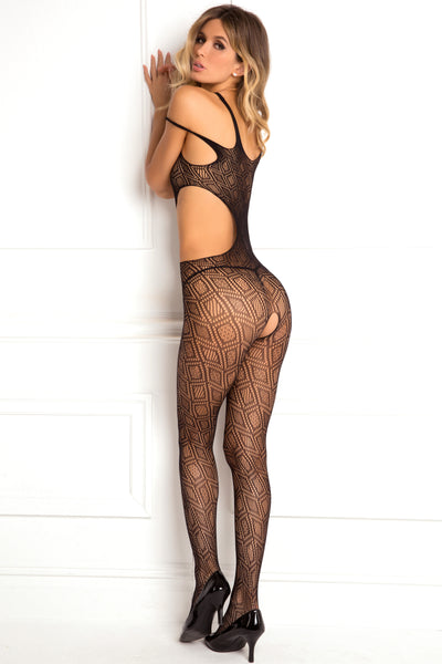 7051-BLK Rene Rofe Sexy Lingerie Made The Cut Asymmetrical Geometric Net Crotchless Body Stocking with Cutouts