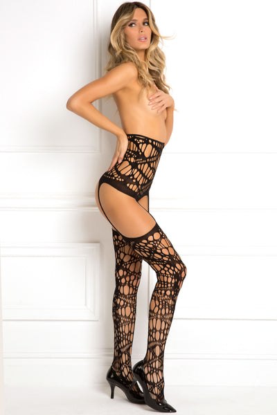 René Rofé Sexy Lingerie 7052-BLK Topless High-Waisted Cutout Garter Stocking-Side View