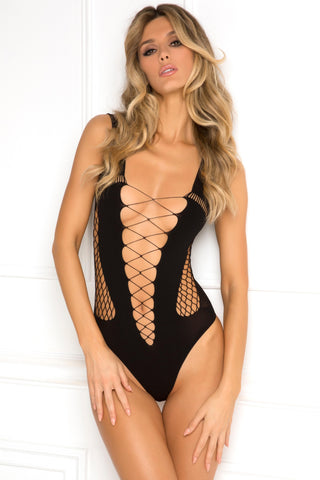 7053-BLK Rene Rofe Sexy Lingerie Splitting Up Seamless Bodysuit with Industrial Net Side Cutouts