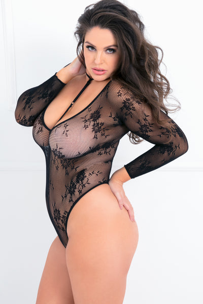 7058X-BLK - Hot Bodies Floral Fishnet Choker Bodysuit - René Rofé Sexy Lingerie - Side View