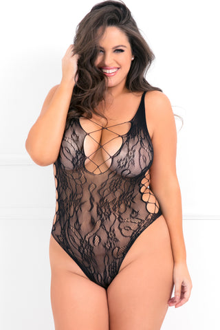 7060X-BLK - Laced Up Sexy Crisscross Side Bodysuit - René Rofé Sexy Lingerie - Front View