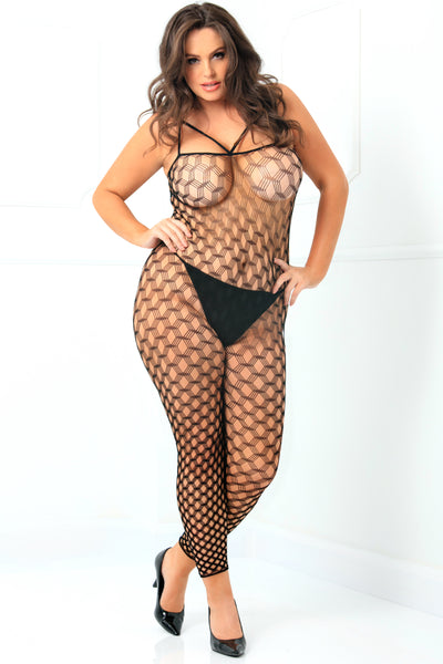 7062X-BLK - Rough Diamond Crotchless Bodystocking - René Rofé Sexy Plus - Front View