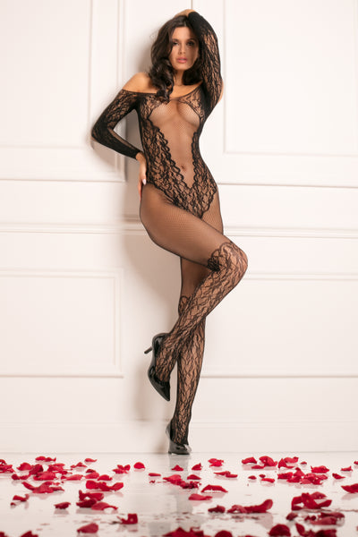 7065-BLK - Make You Melt Crotchless Bodystocking -  René Rofé Sexy Lingerie - Front View