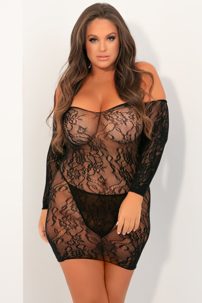 Seductive Lace Dress - René Rofé Sexy Plus Size