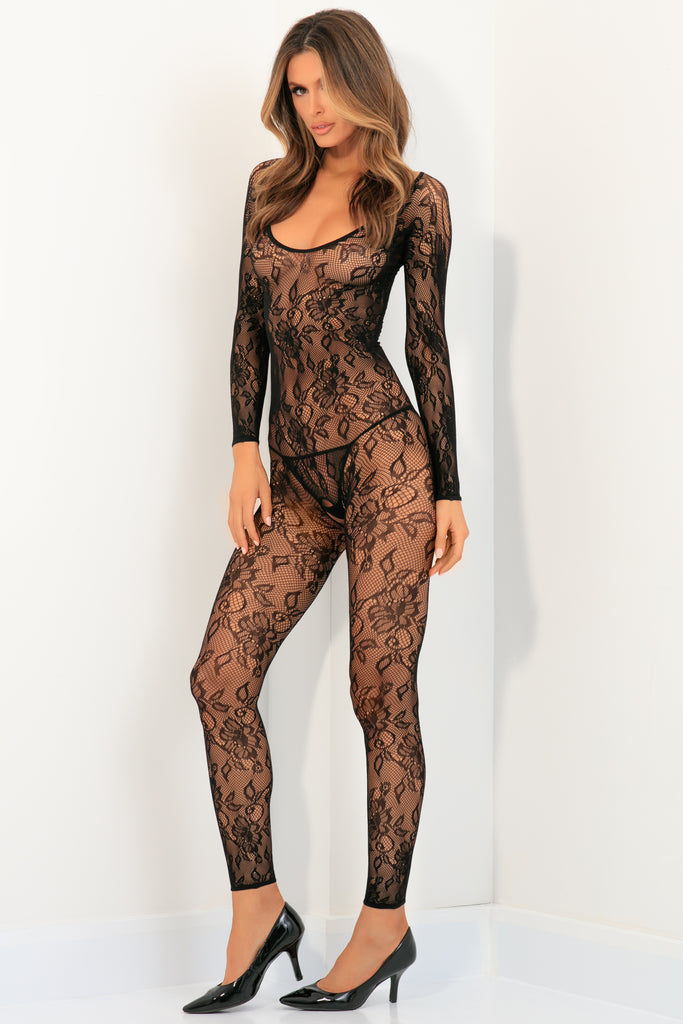 7072-BLK - Body Up Crotchless Bodystocking - René Rofé Sexy Lingerie - Front View
