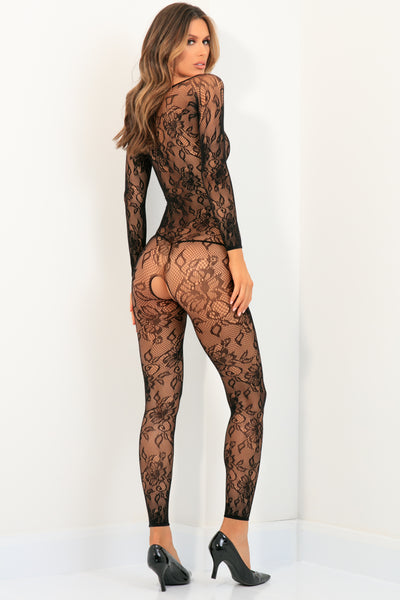 7072-BLK - Body Up Crotchless Bodystocking - René Rofé Sexy Lingerie - Back View