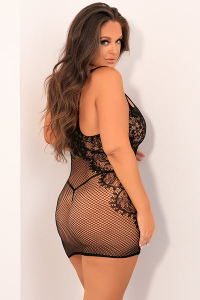 Lace And Net Strap Dress - René Rofé Sexy Plus Size