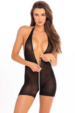 Hot Short Zip Bodysuit - René Rofé Sexy Lingerie