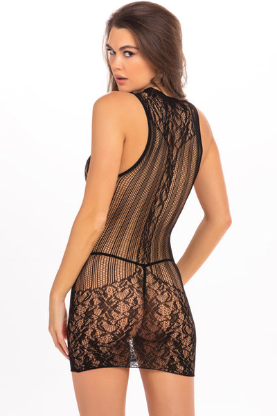 Reckless Lace High Neck Mini Dress -  René Rofé Sexy Lingerie