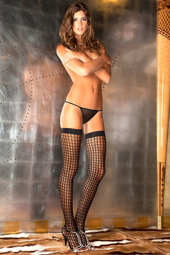 8029<BR>Quarter Crochet Net Thigh High
