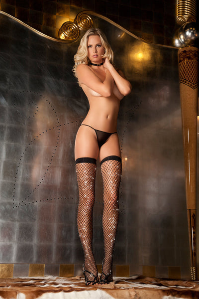 Rene Rofe Sexy Lingerie 8030-BLK Sparkle Diamond Net Thigh High-Front view