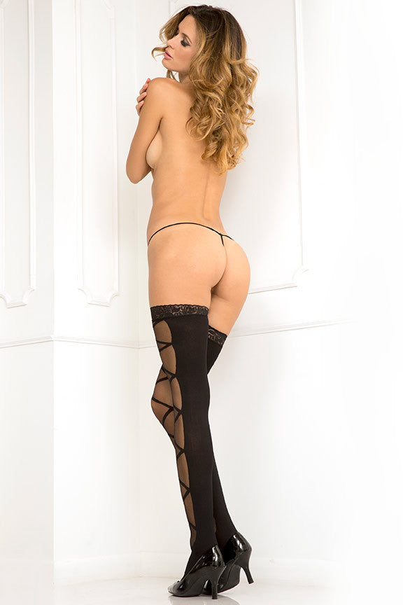René Rofé Sexy Lingerie 8033-BLK Double Exposed Sheer Lace Top Strappy Thigh High-Back view