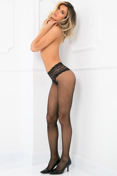 9028-BLK - Lace Top Fishnet Pantyhose - René Rofé Sexy Lingerie - Side View