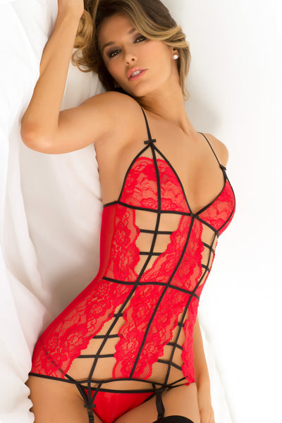 Rene Rofe Sexy Lingerie 512128-RED Two Piece Caged Lace Garter Chemise & G-String Set-Front View