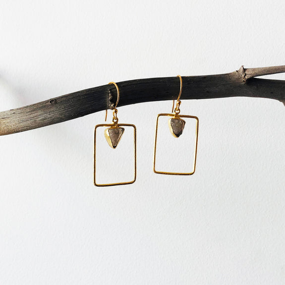 Rectangle Raw Stone Earrings
