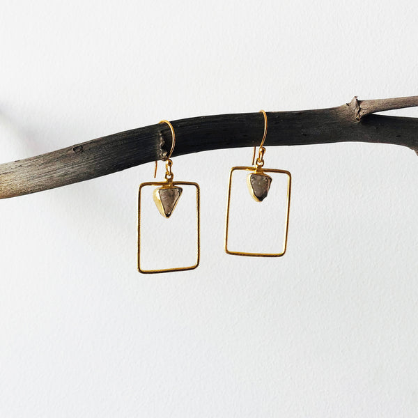 Rectantle Raw Stone Earrings