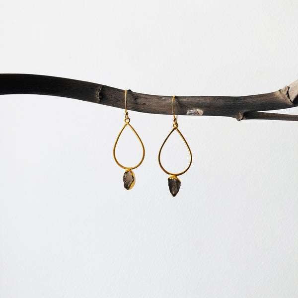 Teardrop Raw Stone Earrings
