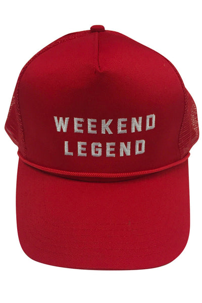 WEEKEND LEGEND - QUALITY MESH SNAPBACK ( RED ) EMBROIDERED