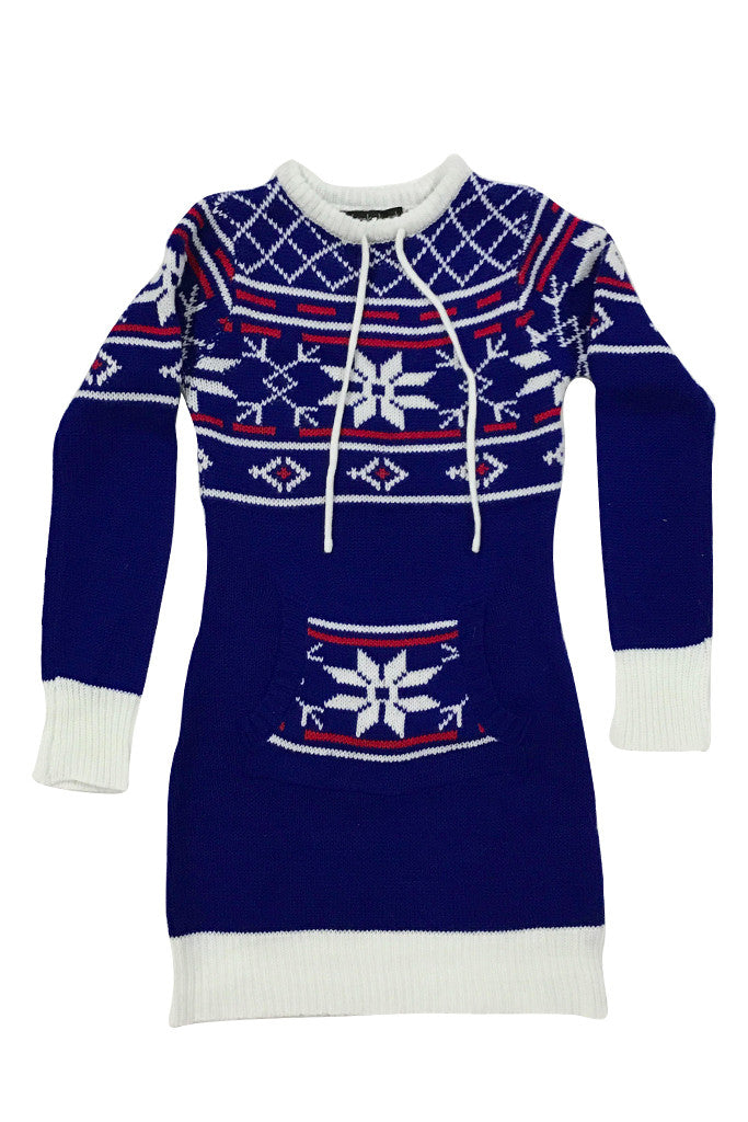 Ugly christmas sweater ( Blue Snowflake Dress )