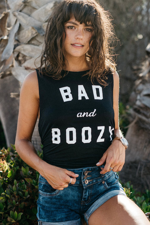 BAD & BOOZY WOMENS FLOWY TANK ( BLACK)