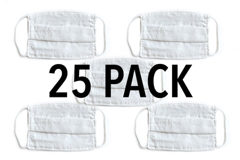 White Cotton Pleated Face Mask- 25 Pack