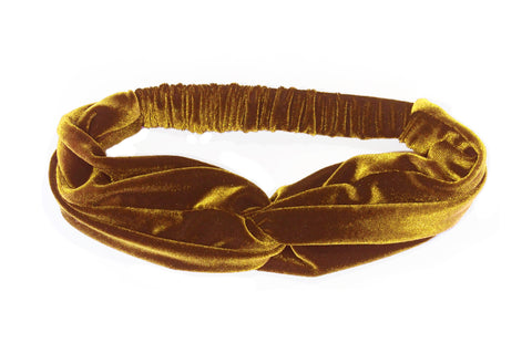 Gold Velvet Twist Headband