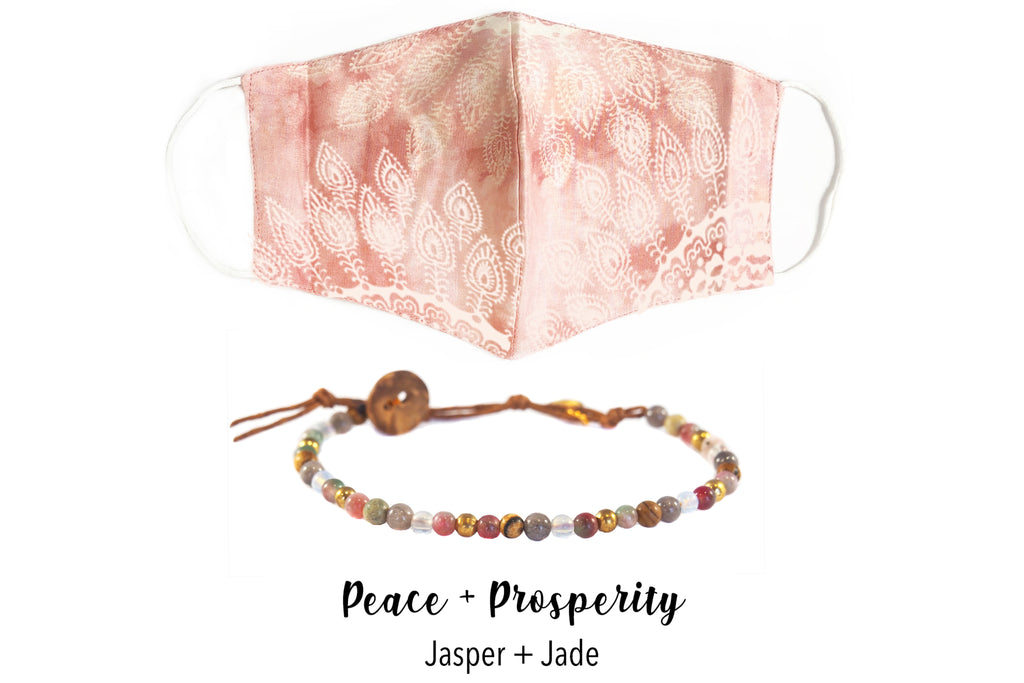 Peach Wide Face Mask + Healing Bracelet Bundle