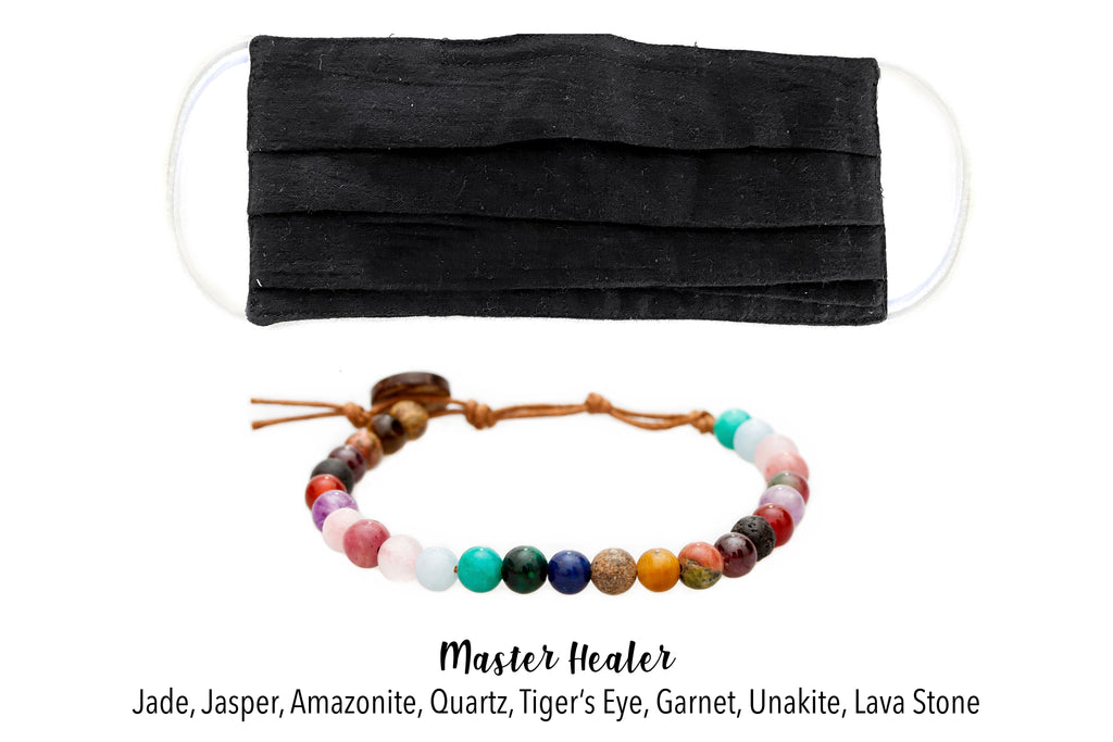 Black Cotton w/Nose Wire Pleated Face Mask + Healing Bracelet Bundle